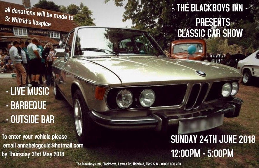 Classic car show and live music at The Blackboys Inn
